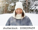 cheerful girl with toothy smile ... | Shutterstock . vector #1038209659