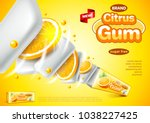 chewing gum ads. citrus pack... | Shutterstock .eps vector #1038227425
