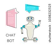 cartoon cute chat bot in flat... | Shutterstock .eps vector #1038232525