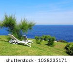 sun loungers on a green with... | Shutterstock . vector #1038235171