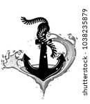 black anchor in whirpool... | Shutterstock .eps vector #1038235879