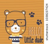 cute teddy bear with glasses...   Shutterstock .eps vector #1038237424