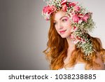 young woman with red hair... | Shutterstock . vector #1038238885