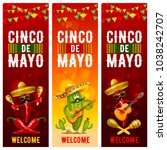 cinco de mayo banners set with... | Shutterstock .eps vector #1038242707