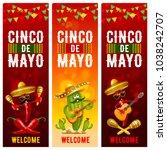 cinco de mayo banners set with... | Shutterstock .eps vector #1038242707
