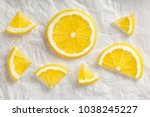 sliced lemon. flat lay the... | Shutterstock . vector #1038245227