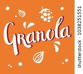 granola lettering white vector... | Shutterstock .eps vector #1038251551