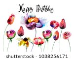 original flowers with title... | Shutterstock . vector #1038256171