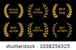 film awards. gold award wreaths ... | Shutterstock .eps vector #1038256525