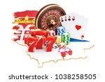 casino and gambling industry in ... | Shutterstock . vector #1038258505