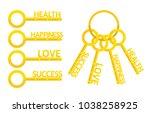 golden keys with words love ...   Shutterstock .eps vector #1038258925