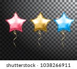 star balloon colorful set on... | Shutterstock .eps vector #1038266911