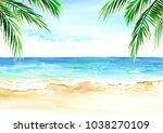 seascape. summer tropical beach ...   Shutterstock . vector #1038270109