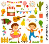 set of cartoons for festa... | Shutterstock .eps vector #1038277234