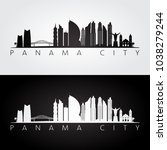 panama city skyline and... | Shutterstock .eps vector #1038279244