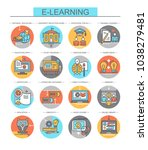learning. set of flat  vector... | Shutterstock .eps vector #1038279481