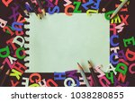 notepad  pencils and letters of ... | Shutterstock . vector #1038280855