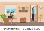 two women office employee on... | Shutterstock .eps vector #1038284107