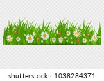 grass and flowers border ... | Shutterstock .eps vector #1038284371