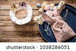 easter bunny with eggs on a... | Shutterstock . vector #1038286051