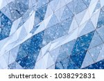 unusual glass wall and snow... | Shutterstock . vector #1038292831