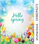 background with spring flowers | Shutterstock .eps vector #1038294271