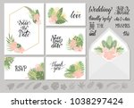set of wedding invitations... | Shutterstock .eps vector #1038297424