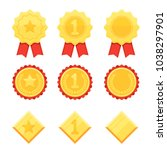 trophy and awards icons set.... | Shutterstock .eps vector #1038297901