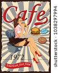 poster with a pin up waitress...   Shutterstock .eps vector #1038297994