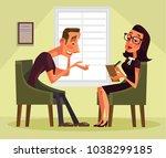 man having psychologist... | Shutterstock .eps vector #1038299185