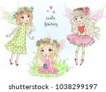 three hand drawn beautiful cute ... | Shutterstock .eps vector #1038299197