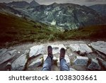 tourism in mountains. tourist... | Shutterstock . vector #1038303661