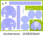 cut and glue the paper elephant.... | Shutterstock .eps vector #1038303664
