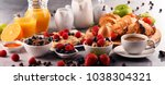 breakfast served with coffee ... | Shutterstock . vector #1038304321