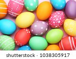 Colorful Easter Eggs On Pink...