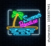 glowing neon summer paradise... | Shutterstock .eps vector #1038307441