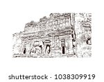 royal tombs and street of... | Shutterstock .eps vector #1038309919