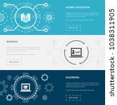 elearning 3 horizontal webpage... | Shutterstock .eps vector #1038311905