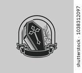 vintage logo coffin tattoo an t ... | Shutterstock .eps vector #1038312097