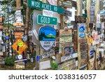 watson lake  yukon  canada  ... | Shutterstock . vector #1038316057