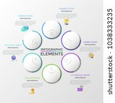 six separate paper white round... | Shutterstock .eps vector #1038333235
