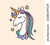unicorn face doodle drawing.... | Shutterstock .eps vector #1038339529