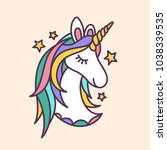 unicorn face doodle drawing.... | Shutterstock .eps vector #1038339535