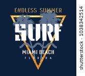 surfing artwork. miami beach... | Shutterstock .eps vector #1038342514