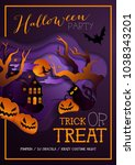 happy halloween poster ... | Shutterstock . vector #1038343201