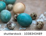 eggs painted in natural... | Shutterstock . vector #1038343489