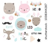 set of cute animals  floral... | Shutterstock .eps vector #1038344287