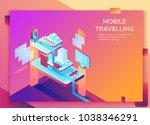 mobile travel concept  landing... | Shutterstock .eps vector #1038346291