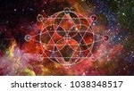 abstract cosmos geometric... | Shutterstock . vector #1038348517