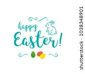 vector happy easter inscription ... | Shutterstock .eps vector #1038348901